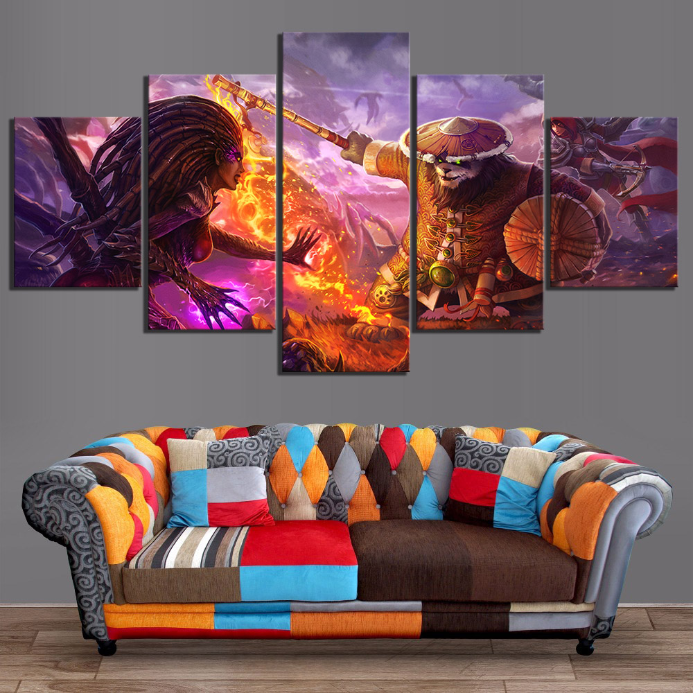 Wow Classic: 5 Piece Classic Game WOW Warcraft DOTA 2 Painting Poster