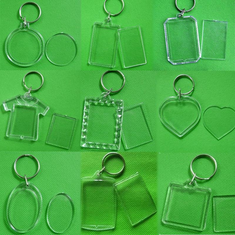 Unisex Transparent Blank Insert Photo 1PC Keychain DIY Acrylic Picture Frame Round Rectangle Heart New Women Men Keyring