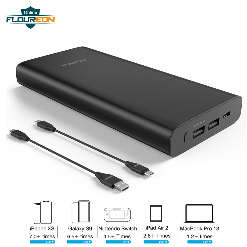 Floureon Power Bank 26800mAh Big Capacity Phone External Battery Pack 12V/3A Quick Charging PD60W Power Bank with Type-C InputFloureon Power Bank 26800mAh Big Capacity Phone External Battery Pack 12V/3A Quick Charging PD60W Power Bank with Type-C Input