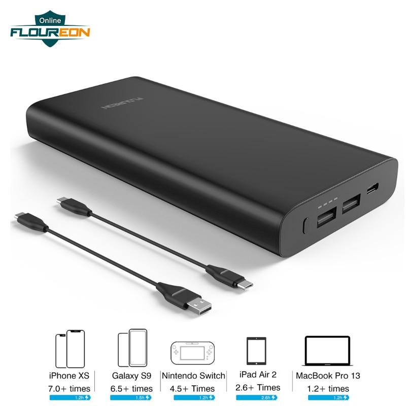 Floureon batterie externe 26800 mAh grande capacité téléphone batterie externe Pack 12 V/3A charge rapide PD60W batterie externe avec entrée type-c