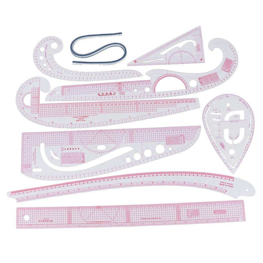 9PCS Set Multi Styling Design Drawing Comma Line Straight French Curve Ruler