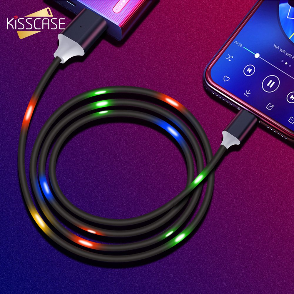 KISSCASE LED Voice Control Type C Cable for Samsung S10 S9 2A Fast Charging  Type-C Cable for Xiaomi Redmi Note 7 4X Charger Cabo