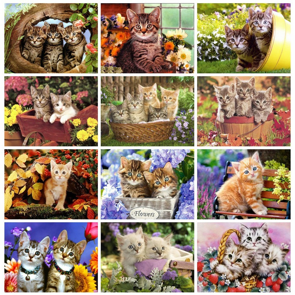 Huacan Diamond Embroidery Animal Full Square Picture Mosaic Rhinestone Home Decoration 5D DIY Diamond Painting Cat