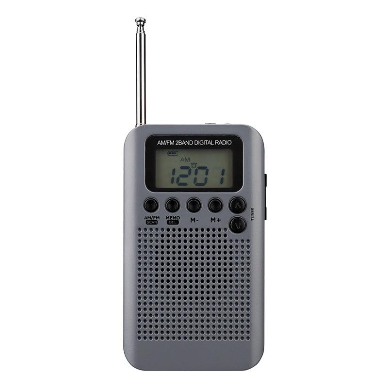 Trendmarkierung Mini Lcd Digital Fm/am Radio Lautsprecher Mit Wecker Und Zeit Display Funktion 3,5mm Kopfhörer Jack Und Ladekabel grau Delikatessen Von Allen Geliebt