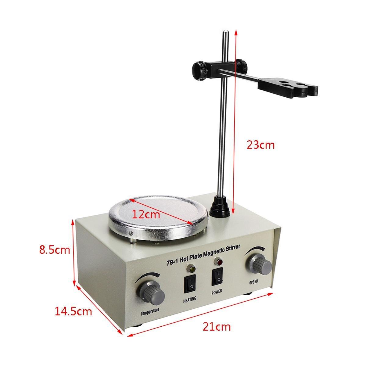 Agitateur magnétique à plaque chauffante chauffage de laboratoire 79-1 110/220 V 250 W 1000 ml mélangeur à double commande US/AU/EU Protection contre les fusibles anti-bruit/vibrations - 5