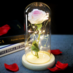 Image 3 - Beauty and the Beast Natural Decorative Flower In A Glass Dome On A Wooden Base For Romantic Valentines Gifts LED Rose Lamps Mo