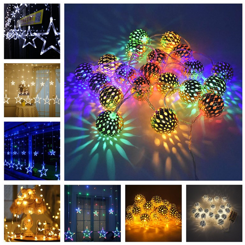Battery Operated Outdoor Christmas Trees: Christmas Decor 10 20pcs LEDs Moroccan Ball String Lights