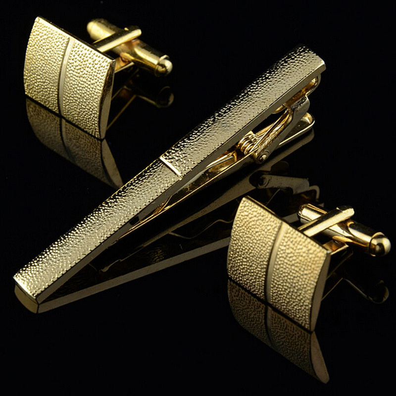Gold Plating Tie Clip And Cufflink Set For Men Classic Meter Tie Clips Cufflinks Sets Nickel Plating Collar Pin Fashion Jewelry