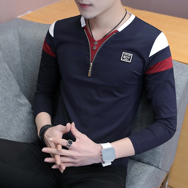 2019 Spring T-Shirt Men Long Sleeve Casual Zipper T Shirts Self-cultivation Design Simple T Shirt Brand New Round Neck Homme 1