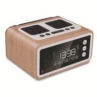 Home Desktop Alarm Clock FM Speaker 2500mah Battery Wireless Speaker with Mic Wood Speaker Remote Control