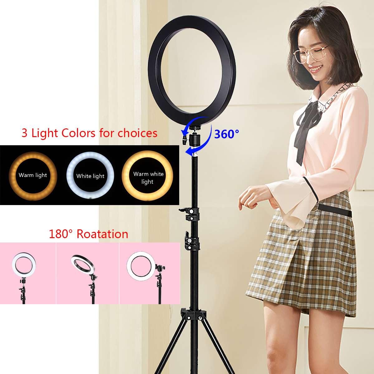 LED anneau lampe Dimmable & lumière support Kit téléphone Photo Selfie vidéo maquillage en direct 12 W blanc chaud lumière Compatible réglage 20-200mm