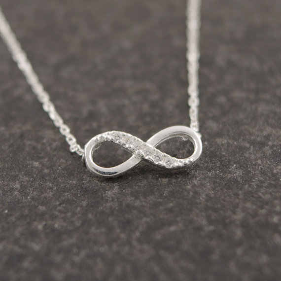 Shuangshuo Tiny Infinity Crystal Pendant Necklaces for Women Choker Lucky Number Eight Geometric Long Chain Necklace