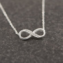 Shuangshuo Tiny Infinity Crystal Pendant Necklaces for Women Choker Lucky Number Eight Geometric Long Chain Necklace(China)