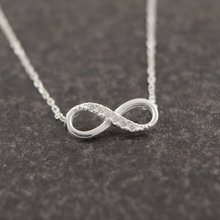 Shuangshuo Tiny Infinity Crystal Pendant Necklaces for Women Choker Lucky Number Eight Geometric Silver Long Chain Necklace