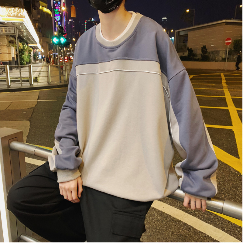 Men 39 s Sweatshirt 2019 Spring New Solid Color Loose Long Sleeve Round Neck Top Personality Youth Popular Men 39 s Wear in Hoodies amp Sweatshirts from Men 39 s Clothing