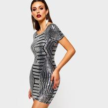 Mini Bodycon Dress Women Silver Sequins Striped Fashion Brand Summer Prom  Elegant Ladies Club Wear Backless Sexy Short Dresses c8ec9fccd908