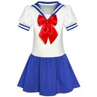 Girls Dress Sailor Moon Cosplay School Uniform Navy Suit Cotton 2019 Summer Princess Wedding Party Dresses Children Clothes