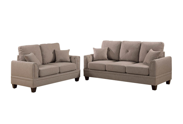 Polyfiber 2 Piece Sofa Set With Nail head Trims In