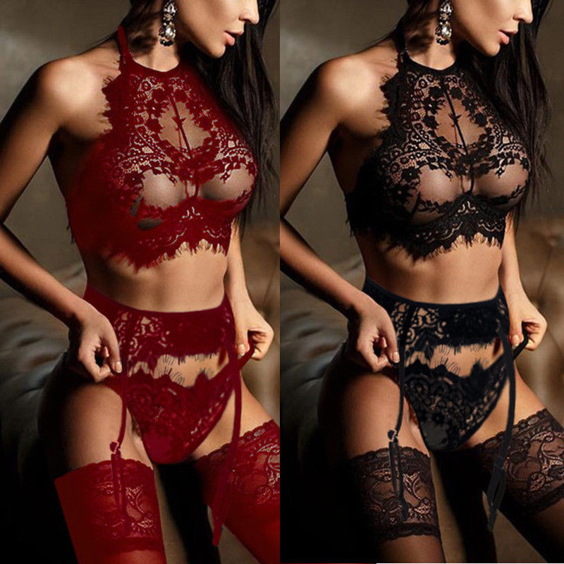 Ladies Women Sexy  Exotic Sets Nightgown Arrival Female Babydoll Underwear Lace Bra Garter G-String 3Pcs Sets Sleepwear
