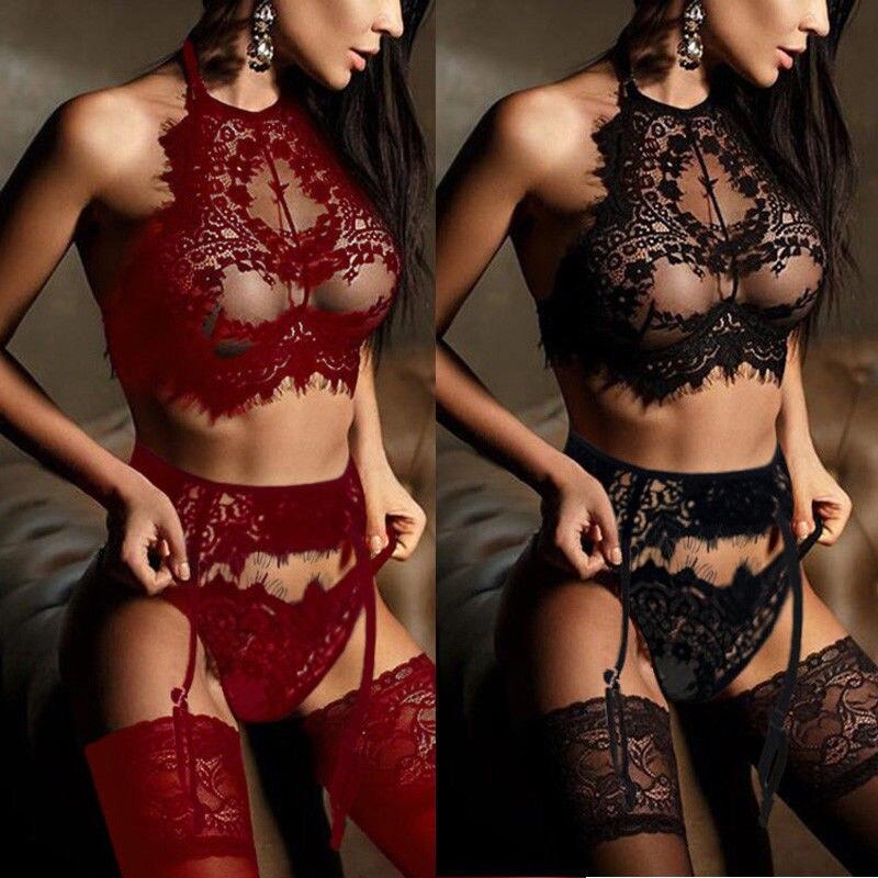 Ladies Women Sexy  Exotic Sets Nightgown Arrival Female Babydoll Underwear Lace Bra Garter G-String 3Pcs Sets Sleepwear