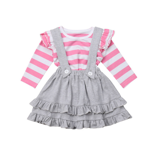 00f126a94 2Pcs Fashion T Shirts+Suspends Skirts Infant Baby Girls Striped ...
