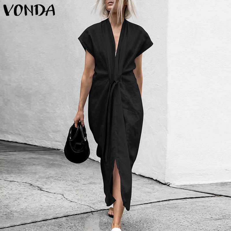 VONDA Women Summer See Through Dress 2019 Sexy V Neck Short Sleeve Tunic Belt Split Party Long Dresses Casual Loose Solid Vestdo