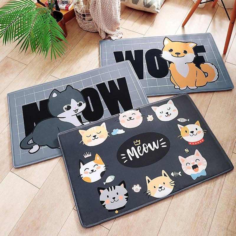 Cute Bath Cartoon Cat Dog Pet Floor Bathroom Decor Memory Mat Home Soft Flannel Anti Slip High