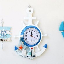 New Wall Clock Mediterranean Wooden Wall Hanging Clock For Living Room Ocean Style Wall Clock Modern Design Room Decoratioin