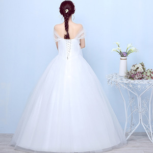 Image 3 - Princess Ivory Wedding Dress Elegant Ball Gown Sweetheart Off Shoulder Bridal Gown With Lace Back Vestido De Noiva 2020 Mariage