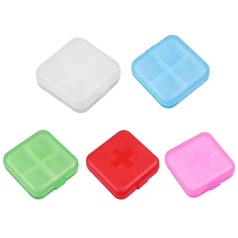 1pc Portable 4 Grids Pill Box Drug Tablet Medicine Storage Holder Splitter Case Storage Organizer Container Case DX
