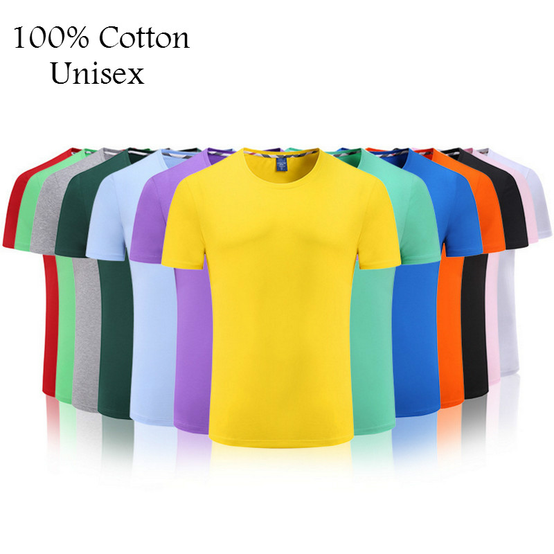 2018 New Solid Color T Shirt Mens Multiple Colors 100% cotton T-shirts Summer Skateboard Tee Tops Boy Skate Tshirt Free shipping(China)