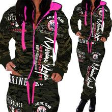 Women's Hoodie Camouflage Sweatshirt Letters Printing Jogger Suit sets Spring Autumn