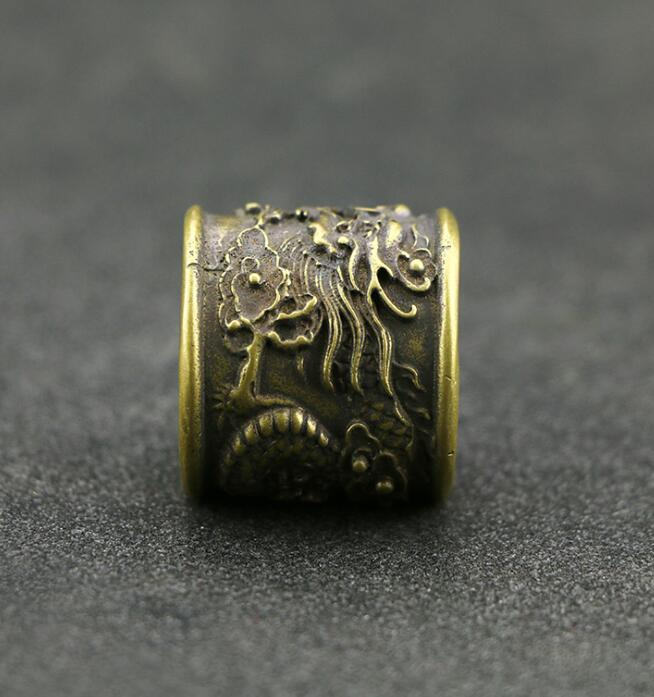 Collection Chinese Brass Carved Zodiac Animal  Dragon Finger Ring Exquisite Small Statue Gift