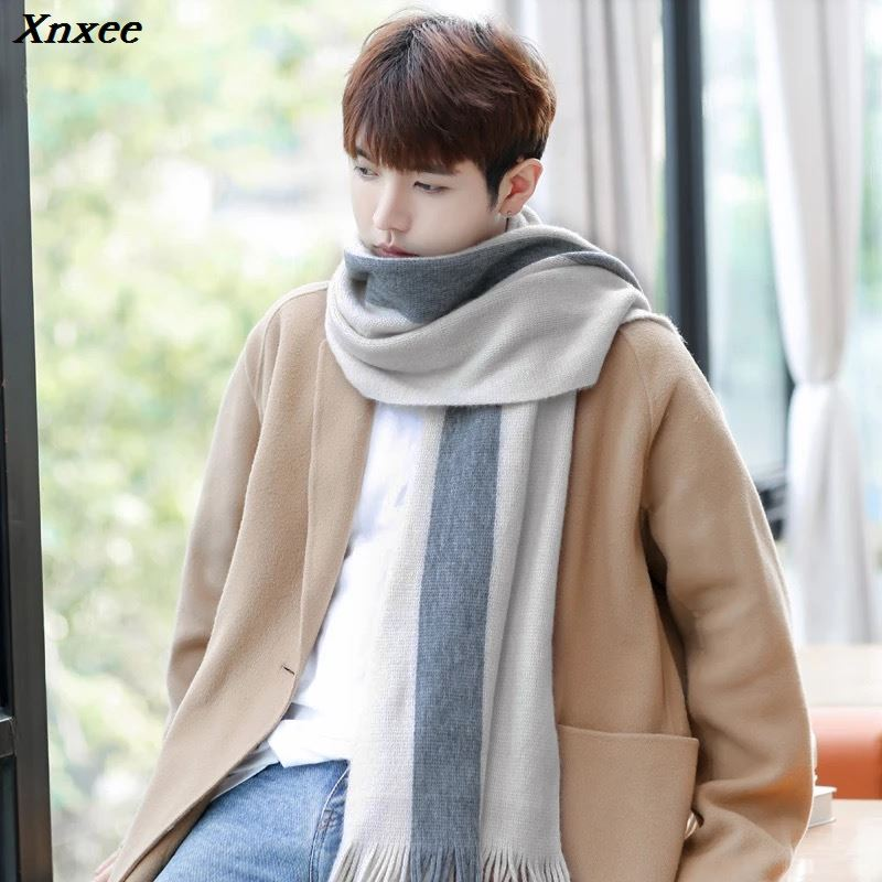 New Fashion Men's Winter Korean Version Of The Wild Simple New Men's Scarf Knitted Long Section Young People Students Scarf