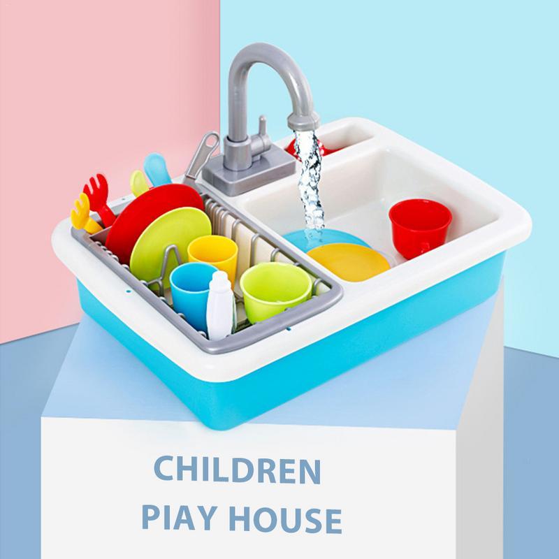 Jouer Maison D'eau Jouet Petite Cuisine Couverts Kit De Nettoyage Jouet Pour Enfants