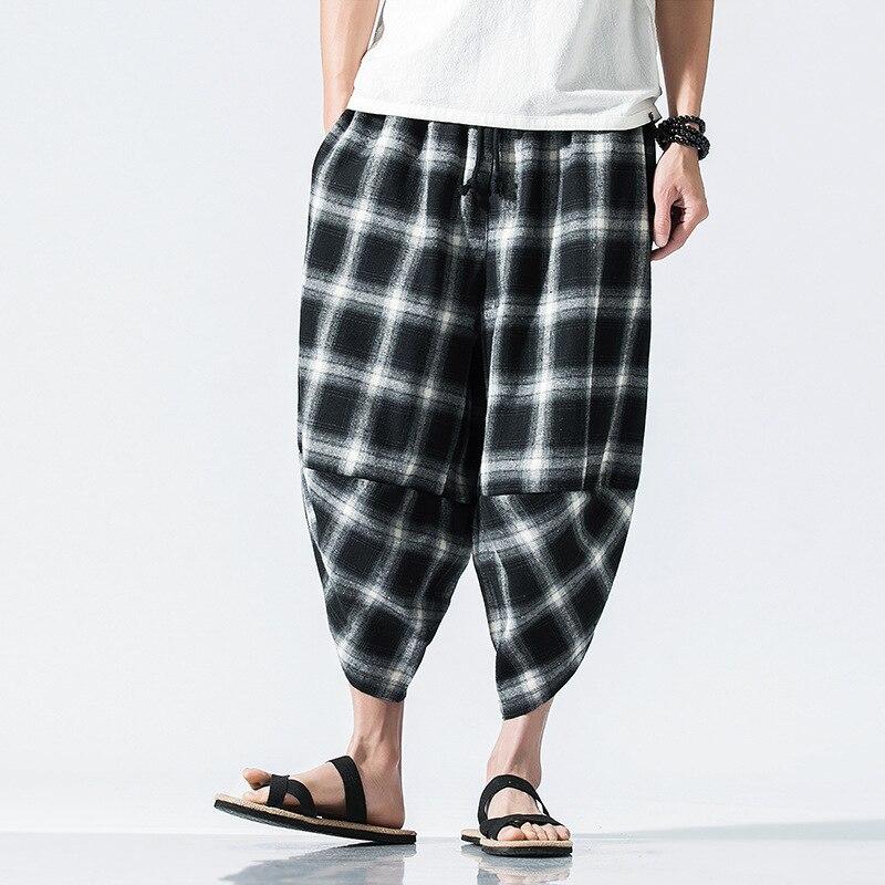 #4609 Sommer Plaid Leinen Hosen Männer Breite Bein Plus Größe Elastische Taille Vintage Jogger Lose Harem Hosen Fashion Ankle -länge 5xl
