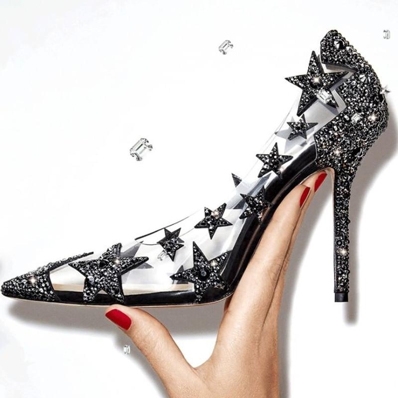 Strass Bling Étoiles Bout Stilettos Haute Soirée Sexy Pic Pour Chaussures Banquet Sur Appliques Talon Femme Pic as Escarpins Pointu Slip 19ss De As q5E78wdnE