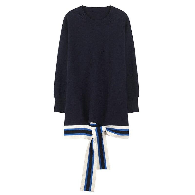 Automne Tricot Blue Hiver Jumper En Lâche Femmes À Hauts Qualité Lacets Navy Jersey Piste Rayé Nouvelle Rétro Supérieure Chandail Pull SHOAxfH