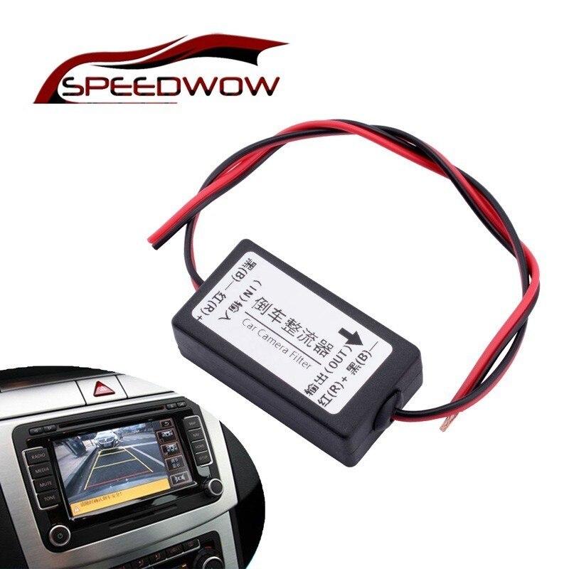 Speedwow carro câmera retrovisor relé de potência 12 v câmera de backup do carro regulador de relé de potência da câmera do carro capacitor filtro conector