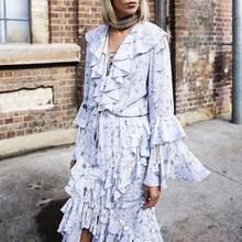 Female Spring Fashion V Neck Patchwork Sequins Tassel Maxi Dress Women Ruffle Flare Sleeve Party Dress