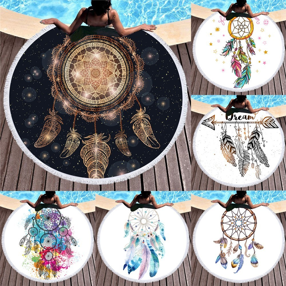 Power Source Persevering Dreamcatcher Round Beach Towels Microfiber Boho Style Tassels Swimsuit Wrap Skirt Shawl Travel Tablecloth 150x150cm With The Best Service Garden Supplies