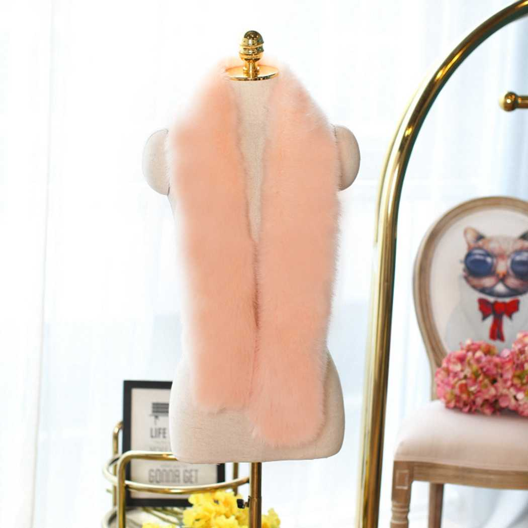 女性フェイクファースカーフショール冬暖かい毛深いキツネの毛皮の襟のアクセサリーラップレディースロングスカーフ 5 色スカーフ