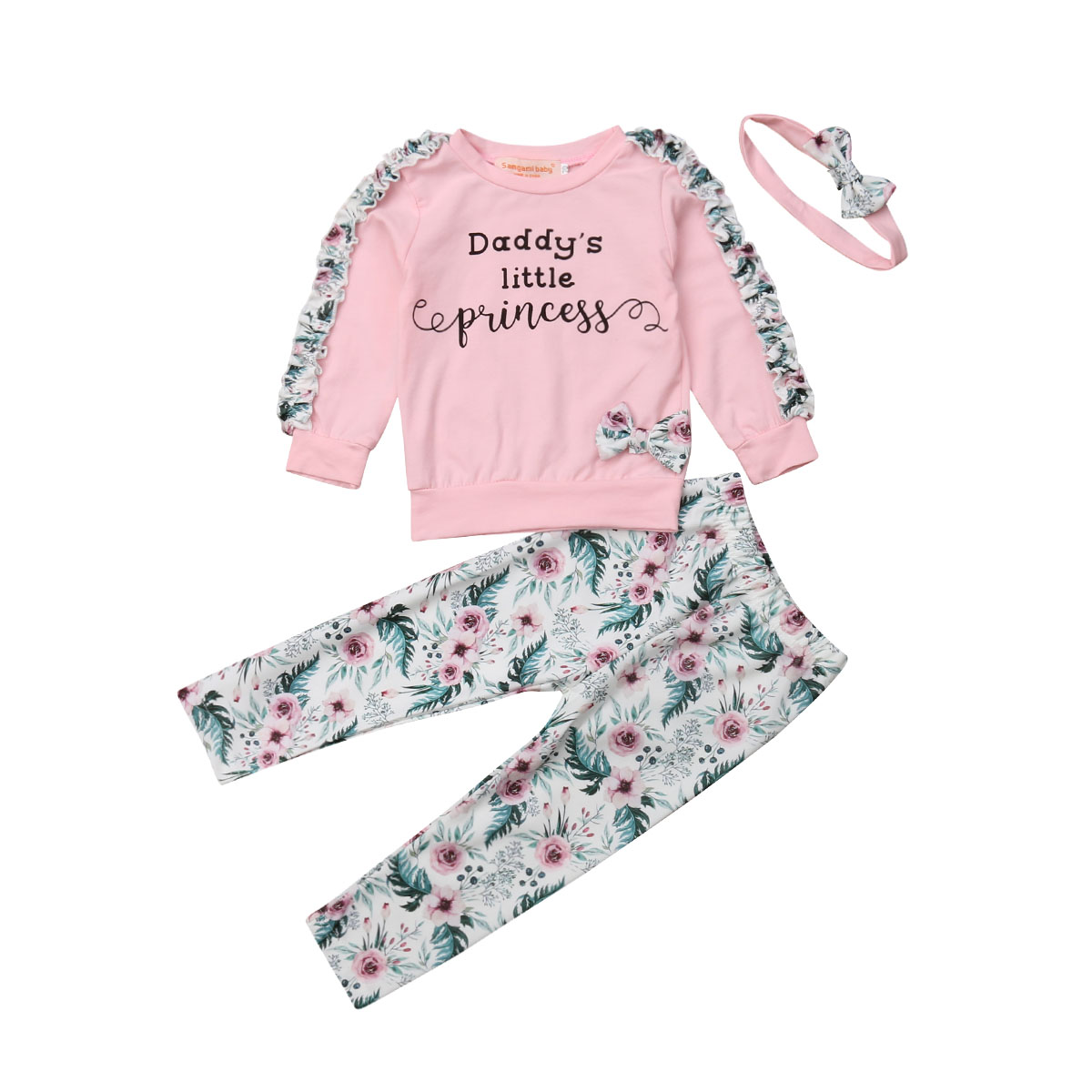 Toddler Kids Baby Girl Floral Tops Pants Headband 3Pcs Outfits Clothes Tracksuit