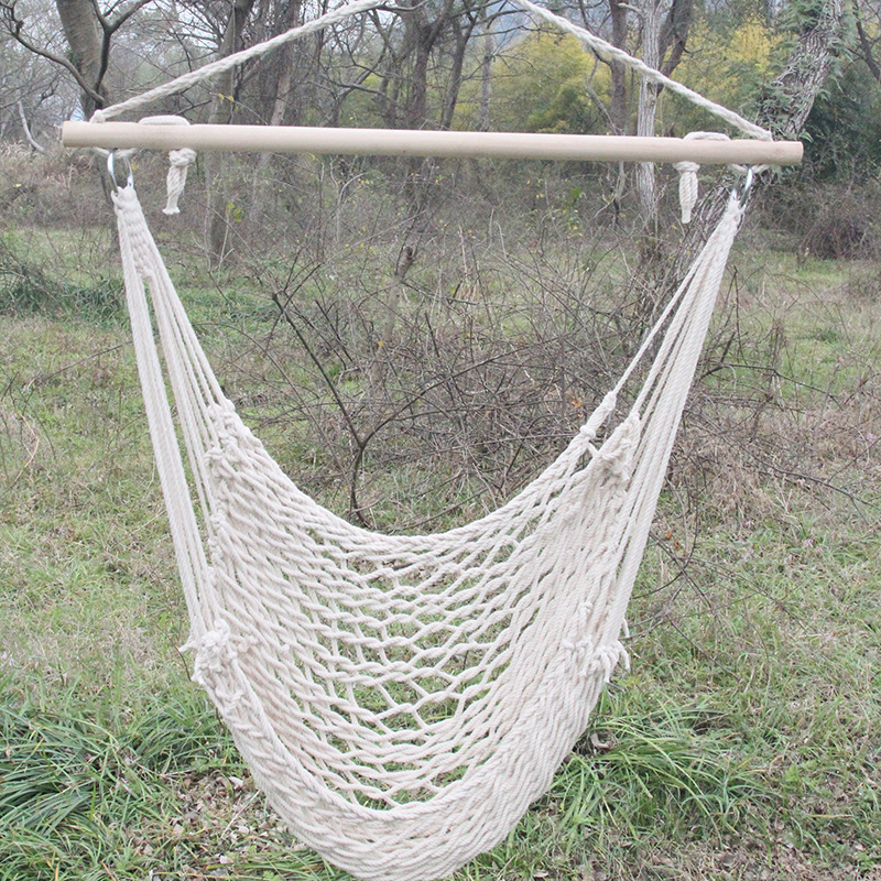 Furniture Hammocks Outdoor Hammock Chair Hanging Chairs Swing Cotton Rope Net Kids Adults Indoor Cradles Wood Sticks Bearing 150kg Hw22