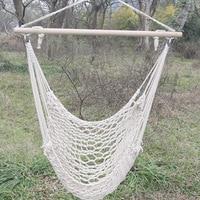 Outdoor Hammock Chair Hanging Chairs Swing Cotton Rope Net Kids Adults Indoor Cradles Wood sticks Bearing 150kg HW22
