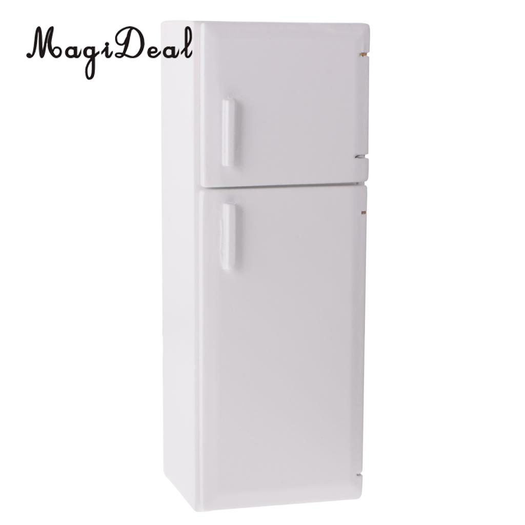 MagiDeal 1/12 Dollhouse Miniature Kitchen White Wooden Fridge Refrigerator Freezer For Dolls Bedroom Living Room Accs Kids Toy