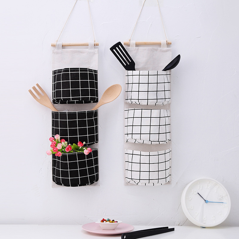 Image 5 - Originality Cotton Waterproof Organizer Storage Bag 3 Layer Hanging Pocket Lattice Cloth Door Back Accept Vakuum Bag Clothes-in Storage Bags from Home & Garden