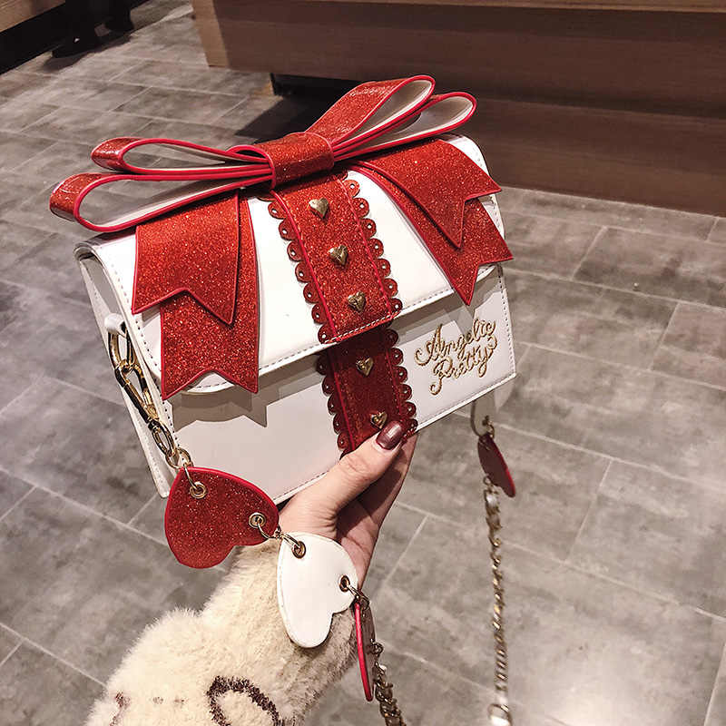 Ita Fashion Cute Bow Shoulder Bags Women Sweet Red Handbag Famous Brand Designer Girl Leather Shoulder Bag Lolita Kawaii Clutch