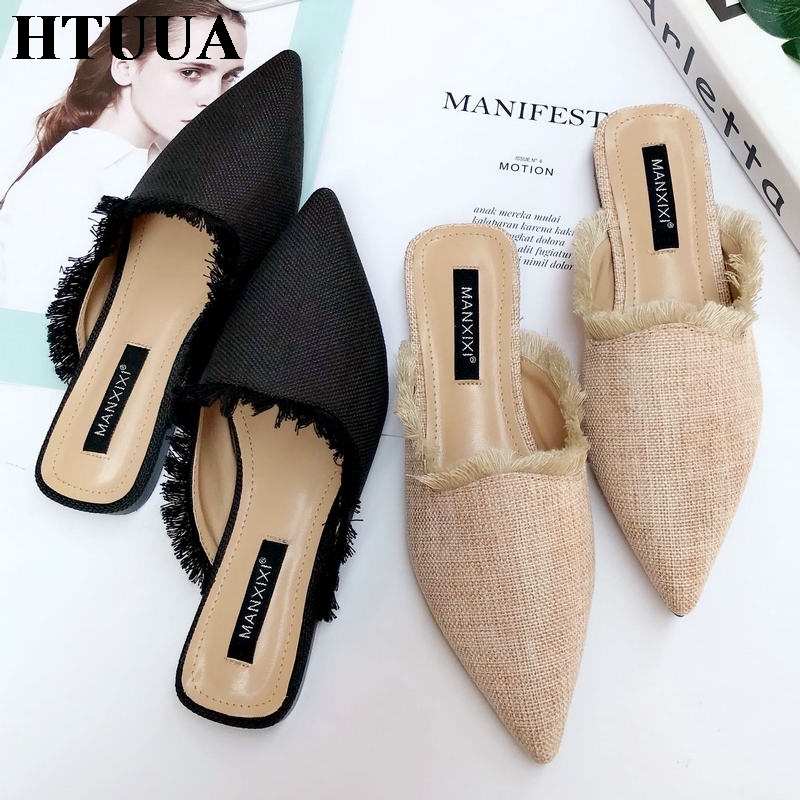 HTUUA 2019 New Spring Summer Women Slippers Hemp Weave Pointed Toe Flat Tassel Mules Shoes Woman Summer Slides Flip Flop SX1965