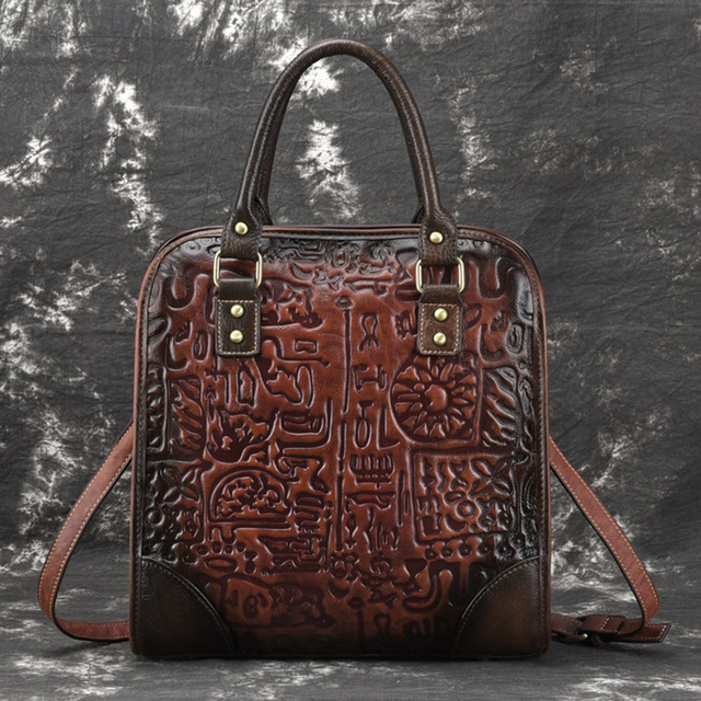 High Quality Genuine Leather Women Bag Tote Shopping Bag Oracle Print Ladies Vintage Natural Skin Embossed Shoulder Handbags